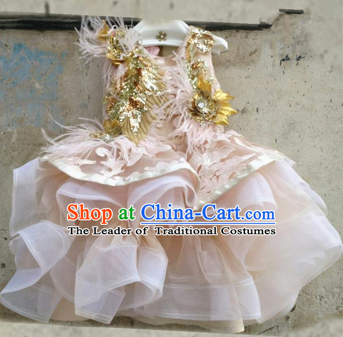 Top Grade Chinese Compere Performance Costume, Children Chorus Singing Group Champagne Ostrich Hair Full Dress Modern Dance Leopard Bubble Short Dress for Girls Kids