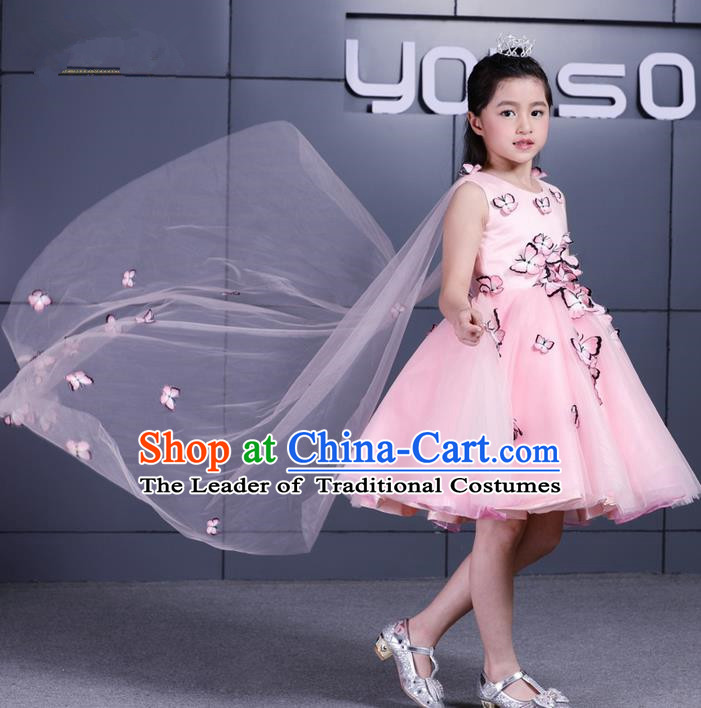 Top Grade Chinese Compere Performance Costume, Children Chorus Singing Group Pink Three-dimensional Butterfly Full Dress Modern Dance Bubble Short Dress for Girls Kids