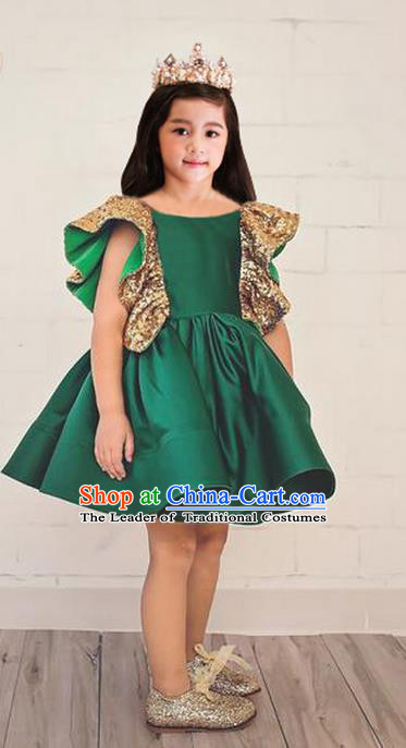 Top Grade Chinese Compere Performance Costume, Children Chorus Singing Group Baby Princess Green Full Dress Modern Dance Bubble Short Dress for Girls Kids