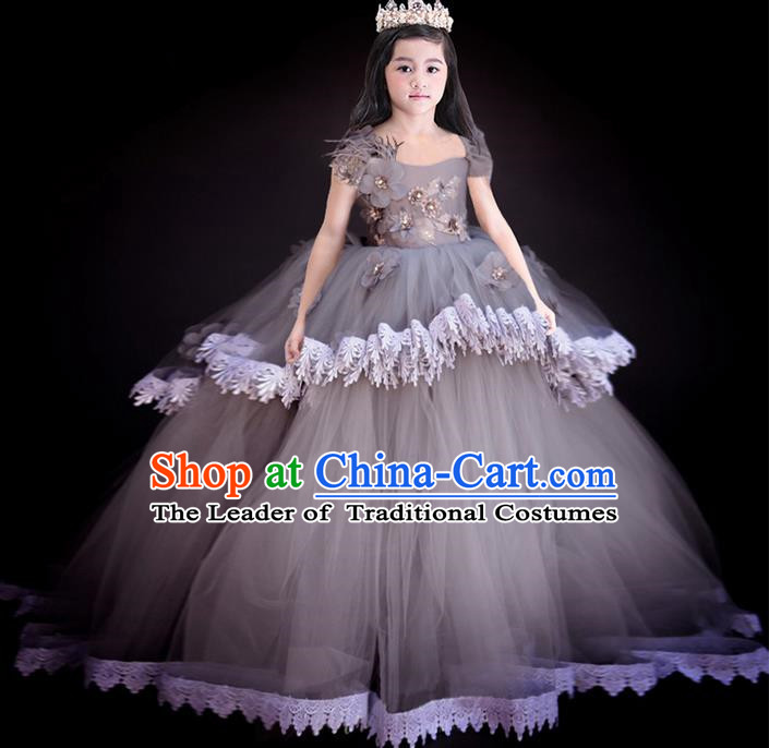 Top Grade Chinese Compere Performance Costume, Children Chorus Singing Group Baby Princess Full Dress Modern Dance Big Swing Long Veil Dress for Girls Kids