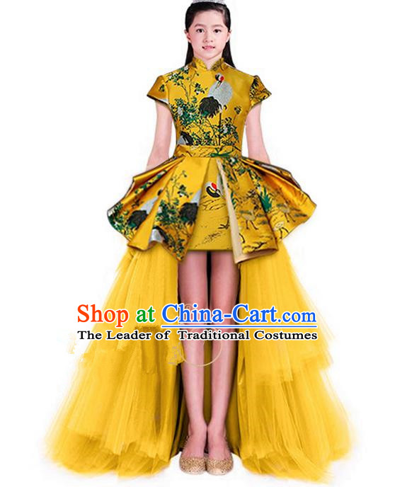 Top Grade Chinese Style Compere Performance Costume, Children Chorus Singing Group Stand Collar Full Dress Modern Dance Gold Long Veil Trailing Dress for Girls Kids