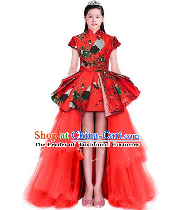 Top Grade Chinese Style Compere Performance Costume, Children Chorus Singing Group Stand Collar Full Dress Modern Dance Red Long Veil Trailing Dress for Girls Kids