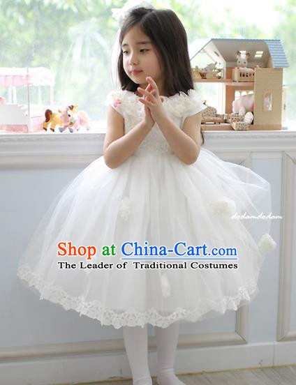 Top Grade Chinese Compere Performance Costume, Children Chorus Singing Group White Full Dress Modern Dance Short Veil Bubble Dress for Girls Kids