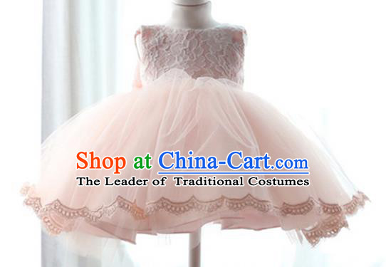 Top Grade Chinese Compere Performance Costume, Children Chorus Singing Group Pink Full Dress Modern Ballet Dance Short Veil Bubble Dress for Girls Kids