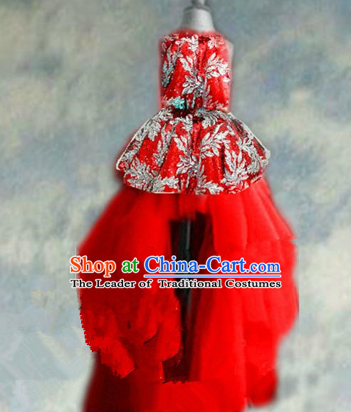 Top Grade Chinese Compere Catwalks Performance Costume, Children Chorus Singing Group Baby Princess Red Full Dress Modern Dance Trailing Dress for Girls Kids
