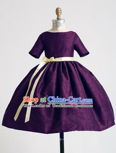 Top Grade Chinese Compere Catwalks Performance Costume, Children Chorus Singing Group Baby Princess Deep Purple Full Dress Modern Dance Bubble Dress for Girls Kids