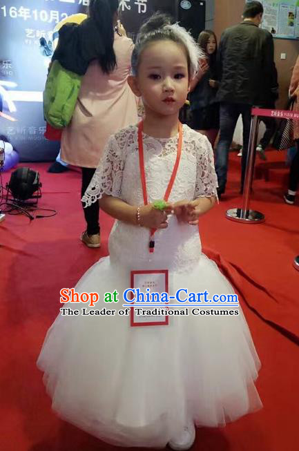 Top Grade Chinese Compere Catwalks Performance Costume, Children Chorus Singing Group Baby Princess Fishtail Full Dress Modern Dance White Veil Dress for Girls Kids