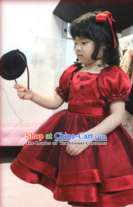 Top Grade Chinese Compere Catwalks Performance Costume, Children Chorus Singing Group Baby Princess Bubble Red Full Dress Modern Dance Dress for Girls Kids