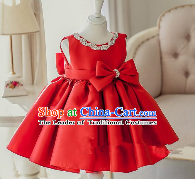 Top Grade Chinese Compere Catwalks Performance Costume, Children Chorus Singing Group Baby Princess Red Bubble Full Dress Modern Dance Short Dress for Girls Kids