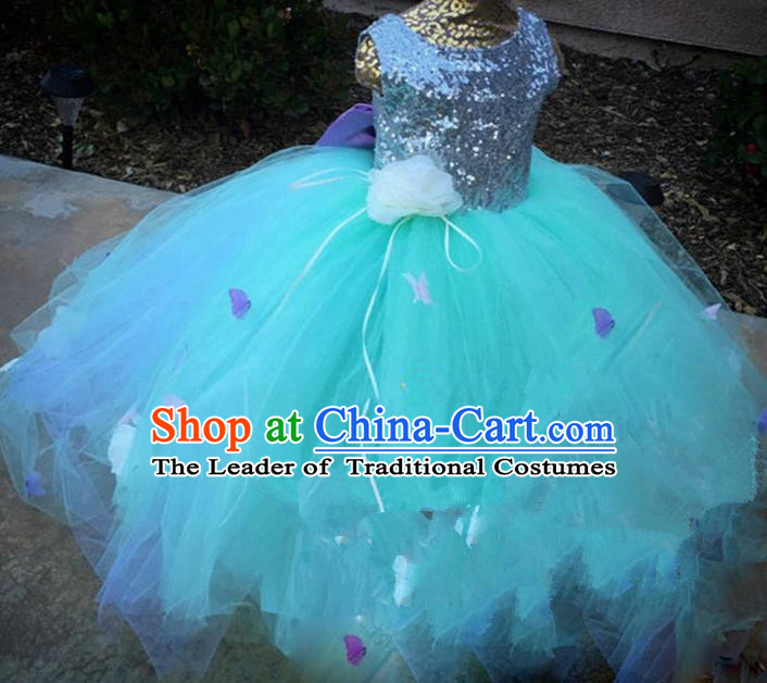 Top Grade Chinese Compere Catwalks Performance Costume, Children Chorus Singing Group Baby Princess Sequins Bowknot Bubble Full Dress Modern Dance Blue Dress for Girls Kids