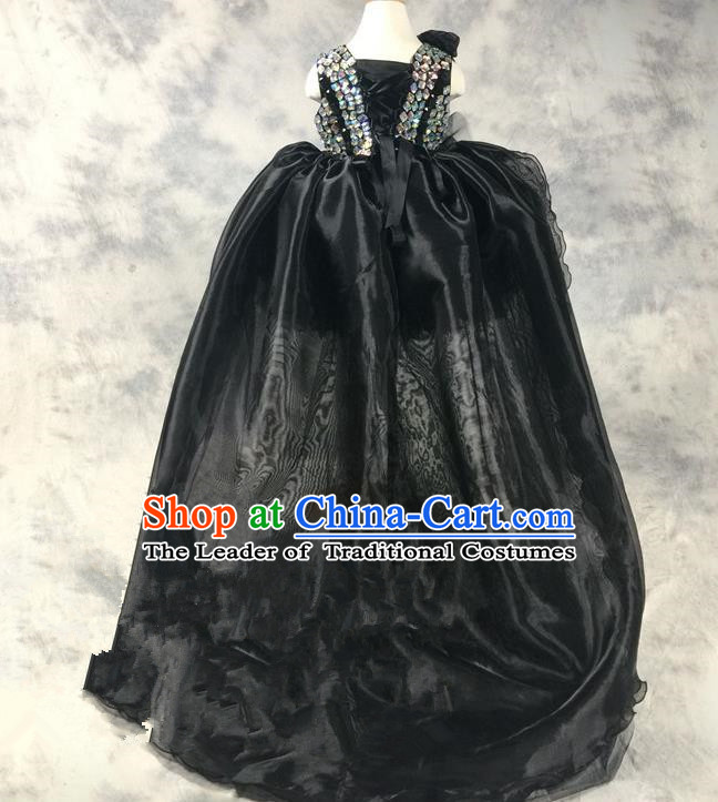 Top Grade Chinese Compere Catwalks Performance Costume, Children Chorus Singing Group Baby Princess Sequins Bubble Full Dress Modern Dance Black Trailing Dress for Girls Kids