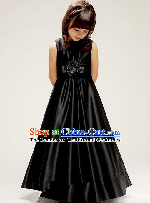 Top Grade Chinese Compere Performance Costume, Children Chorus Singing Group Baby Princess Black Full Dress Modern Dance Veil Bubble Cocktail Dress for Girls Kids