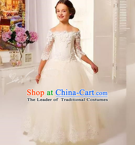 Top Grade Chinese Compere Performance Costume, Children Chorus Singing Group Baby Princess White Off Shoulder Full Dress Modern Dance Veil Bubble Cocktail Dress for Girls Kids