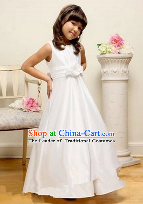 Top Grade Chinese Compere Performance Costume, Children Chorus Singing Group Baby Princess White Full Dress Modern Dance Veil Bubble Cocktail Dress for Girls Kids