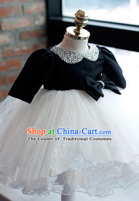 Top Grade Chinese Compere Piano Performance Costume, Children Chorus Singing Group Baby Princess Paillette Full Dress Modern Dance Veil Bubble Dress for Girls Kids