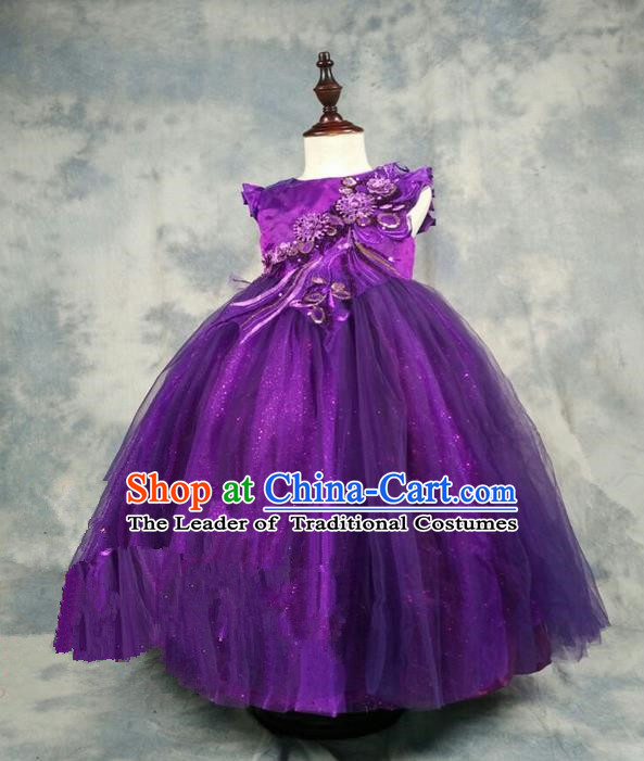 Top Grade Chinese Compere Piano Performance Costume, Children Chorus Singing Group Baby Princess Purple Full Dress Modern Dance Veil Bubble Long Dress for Girls Kids