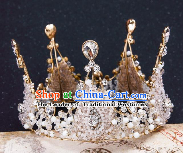 Top Grade Handmade Classical Hair Accessories, Children Baroque Style Queen Crystal Royal Round Crown Hair Jewellery Hair Clasp for Kids Girls