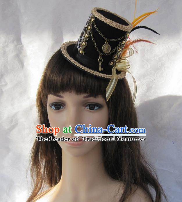Top Grade Handmade Classical Top Hat, Children Baroque Style Queen Party Headwear Hat for Kids Girls