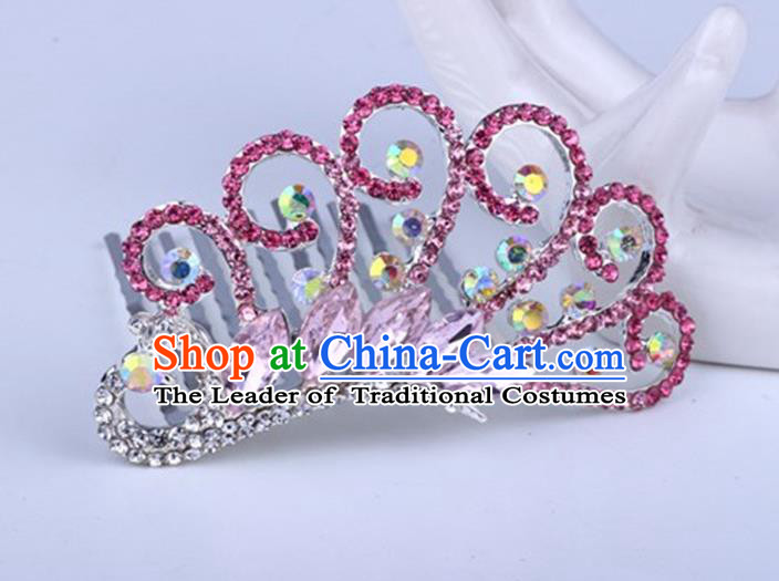 Top Grade Handmade Classical Peacock Hair Accessories, Children Baroque Style Crystal Hairpins Rhinestone Princess Pink Royal Crown Hair Jewellery Hair Clasp for Kids Girls