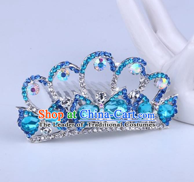 Top Grade Handmade Classical Swan Hair Accessories, Children Baroque Style Crystal Hairpins Rhinestone Princess Blue Royal Crown Hair Jewellery Hair Clasp for Kids Girls
