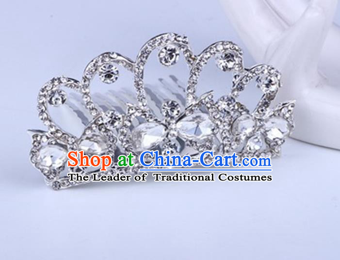 Top Grade Handmade Classical Swan Hair Accessories, Children Baroque Style Crystal Hairpins Rhinestone Princess White Royal Crown Hair Jewellery Hair Clasp for Kids Girls