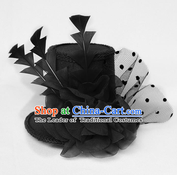 Top Grade Handmade Classical Top Hat, Children Baroque Style Queen Party Headwear Black Lace Hat for Kids Girls