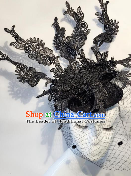 Top Grade Handmade Classical Hair Accessories, Children Baroque Style Crystal Halloween Princess Veil Royal Crown Hair Jewellery Hair Clasp for Kids Girls
