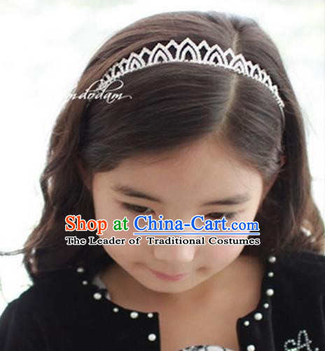 Top Grade Handmade Classical Hair Accessories, Children Baroque Style Crystal Princess Wedding Royal Crown Hair Jewellery Hair Clasp for Kids Girls