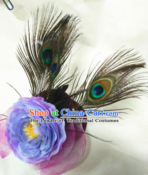 Top Grade Handmade Chinese Classical Hair Accessories, Children China Style Peacock Feathers Peony Princess Wedding Royal Crown Hair Jewellery Hair Clasp for Kids Girls