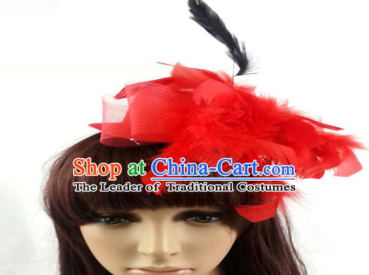 Top Grade Handmade Classical Hair Accessories Bobby Pin, Children Red Feathers Hairpins Hair Clasp for Kids Girls