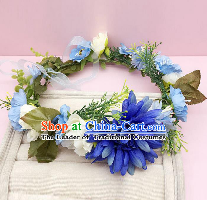 Top Grade Handmade Classical Hair Accessories Hairpins Wreath, Children Baroque Style Blue Flowers Garland Bobby Pin Hair Clasp for Kids Girls