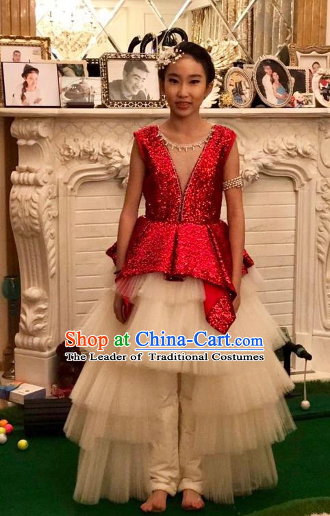 Top Grade Chinese Compere Performance Catwalks Costume, Children Chorus Singing Group Baby Princess Red Full Dress Modern Dance Paillette Long Trailing Dress for Girls Kids