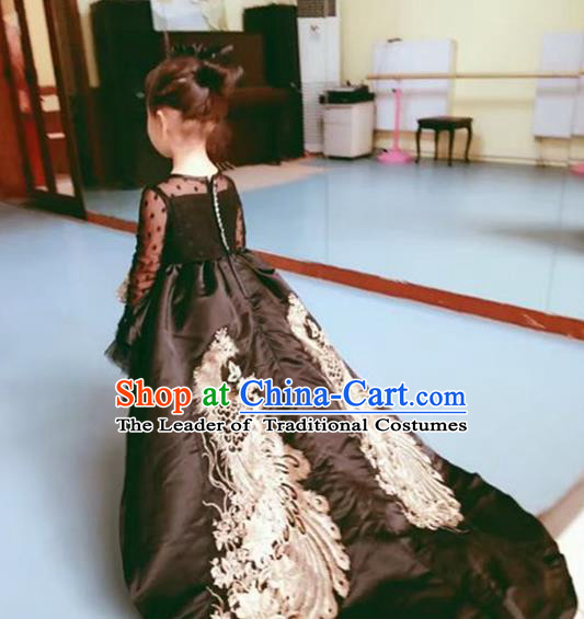 Top Grade Chinese Compere Performance Catwalks Costume, Children Chorus Singing Group Baby Princess Black Phoenix Full Dress Modern Dance Trailing Dress for Girls Kids