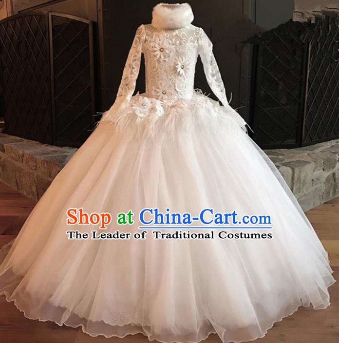 Top Grade Professional Compere Performance Catwalks Costume, Children Chorus Singing Group White Fur Collar Lace Full Dress Modern Dance Big Swing Bubble Dress for Girls Kids