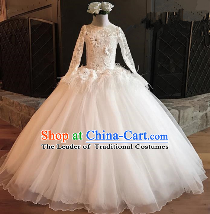Top Grade Professional Compere Performance Catwalks Costume, Children Chorus Singing Group White Lace Full Dress Modern Dance Big Swing Bubble Dress for Girls Kids