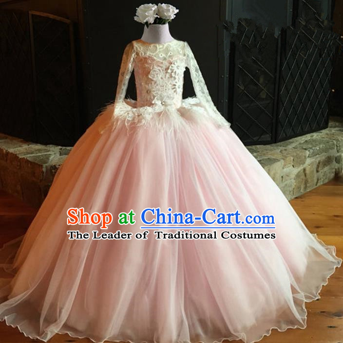 Top Grade Professional Compere Performance Catwalks Costume, Children Chorus Singing Group Pink Lace Full Dress Modern Dance Big Swing Bubble Dress for Girls Kids