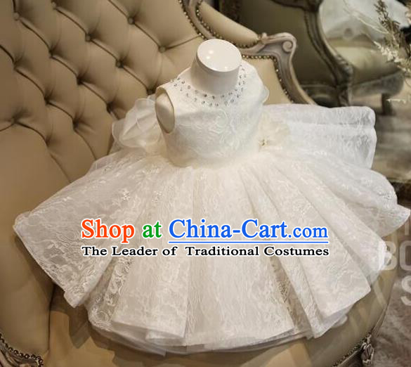 Top Grade Professional Compere Performance Catwalks Costume, Children Chorus Singing Group Baby Princess Full Dress Modern Dance Short White Bubble Dress for Girls Kids