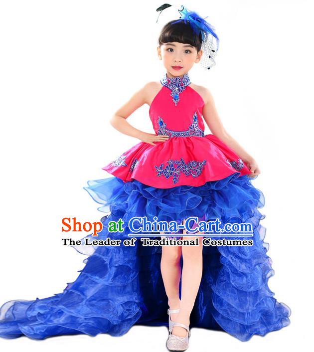 Top Grade Professional Compere Performance China Style Catwalks Costume, Children Chorus Singing Group Paillette Full Dress Modern Dance Trailing Dress for Girls Kids