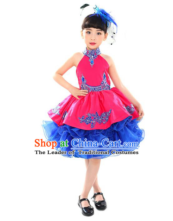 Top Grade Professional Compere Performance China Style Catwalks Costume, Children Chorus Singing Group Paillette Full Dress Modern Dance Bubble Dress for Girls Kids