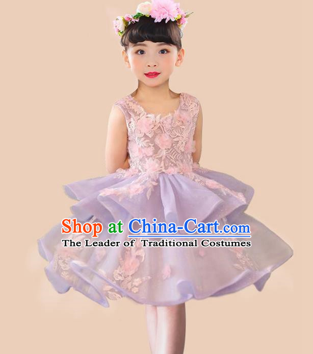 Top Grade Professional Compere Performance Catwalks Costume, Children Chorus Singing Group Flowers Purple Full Dress Modern Dance Bubble Dress for Girls Kids