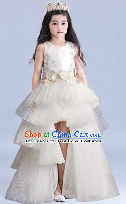 Top Grade Professional Compere Performance Catwalks Costume, Children Chorus Singing Group Baby Princess Piano Recital Champagne Full Dress Modern Dance Trailing Long Dress for Girls Kids
