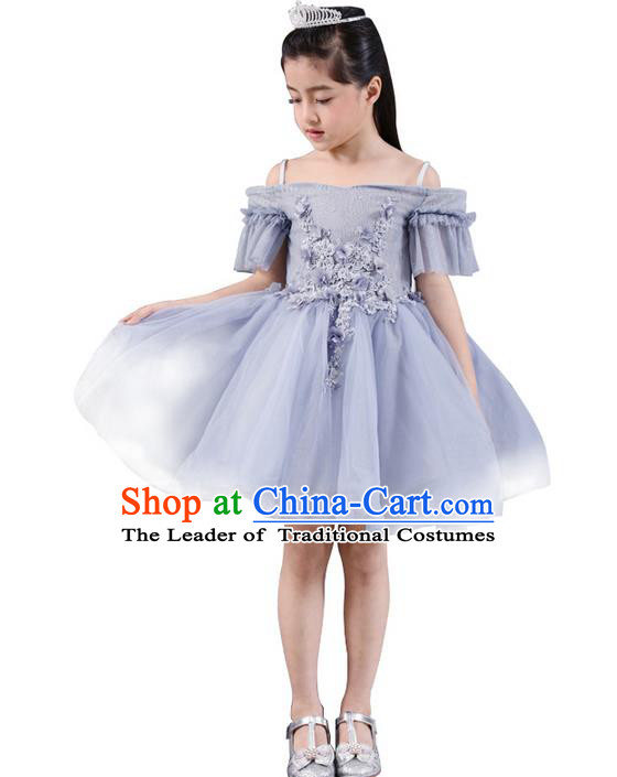 Top Grade Professional Compere Performance Catwalks Costume, Children Chorus Singing Group Baby Princess Piano Recital Full Dress Modern Dance Bubble Dress for Girls Kids