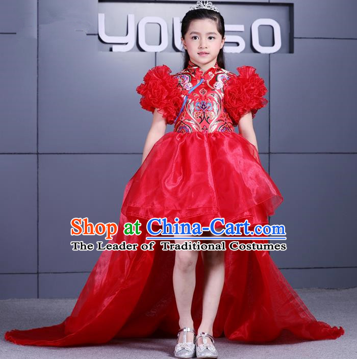 Top Grade Professional Compere Performance China Style Catwalks Costume, Children Chorus Singing Group Dragon Robes Red Full Dress Modern Dance Trailing Dress for Girls Kids