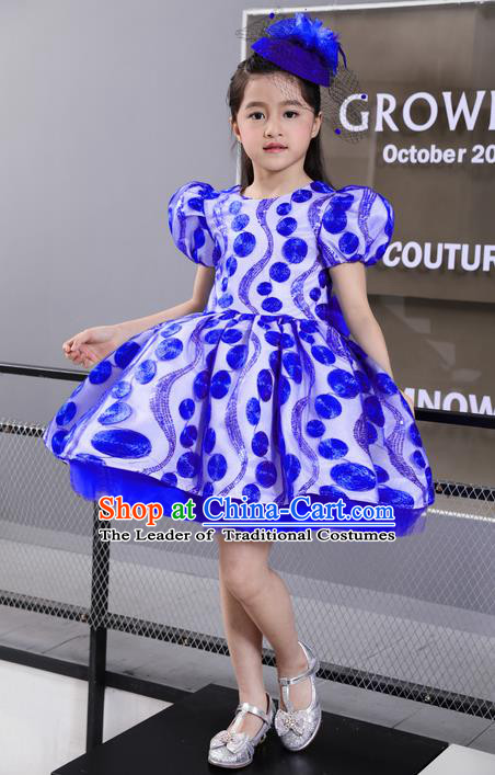 Top Grade Professional Compere Performance Catwalks Costume, Children Chorus Singing Group Blue Full Dress Modern Dance Short Bubble Dress for Girls Kids