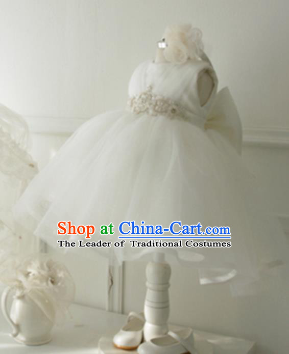 Top Grade Professional Compere Performance Catwalks Costume, Children Chorus Singing Group Little Princess White Veil Full Dress Modern Dance Short Bubble Dress for Girls Kids