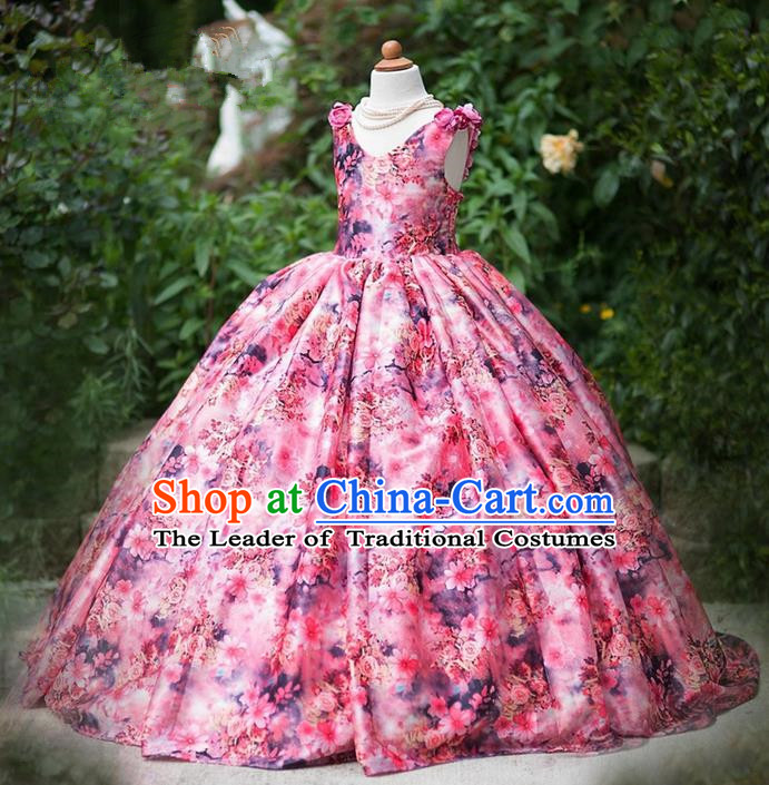 Top Grade Professional Compere Performance Catwalks Costume, Children Chorus Singing Group Little Princess Flowers Long Full Dress Modern Dance Big Swing Dress for Girls Kids