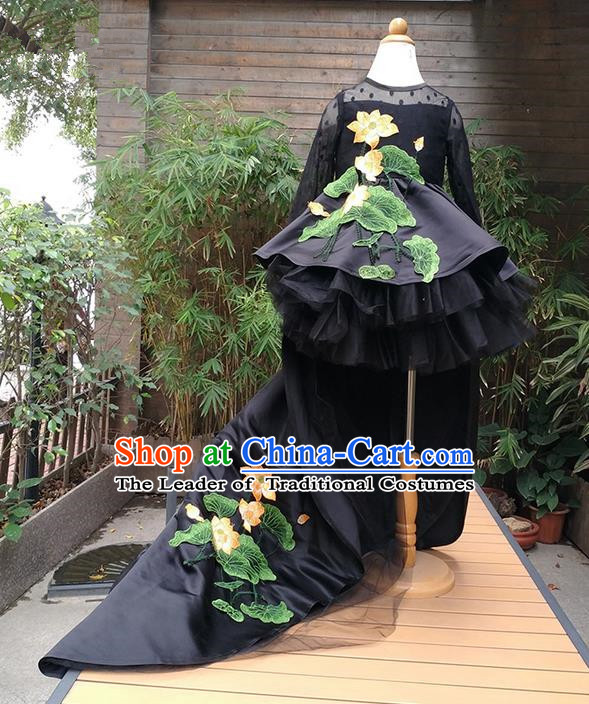 Top Grade Professional Compere Performance Catwalks Costume, Children Chorus Singing Group Black Embroidery Lotus Full Dress Modern Dance Trailing Dress for Girls Kids