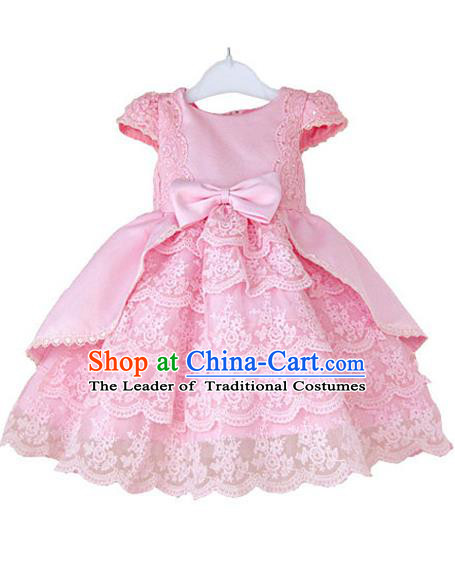 Top Grade Professional Compere Performance Catwalks Costume, Children Chorus Singing Group Little Princess Pink Wedding Full Dress Modern Dance Bubble Dress for Girls Kids