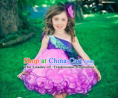Top Grade Professional Compere Performance Catwalks Costume, Children Chorus Singing Group Little Princess One-shoulder Purple Wedding Veil Full Dress Modern Dance Bubble Dress for Girls Kids