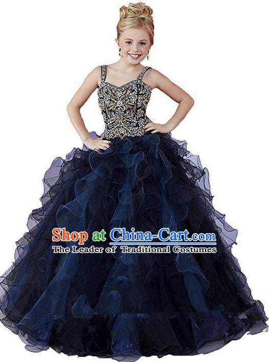 Top Grade Chinese Compere Performance Catwalks Costume, Children Chorus Singing Group Baby Princess Black Full Dress Modern Dance Bubble Long Dress for Girls Kids